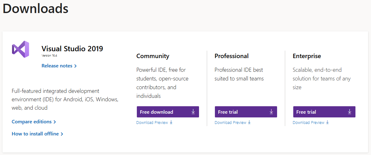 Microsoft Visual Studio Downloads